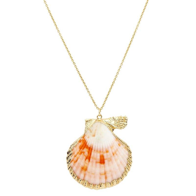 FUWO الذهب المشذبة الملونة الاسكالوب قلادة مع عالية الجودة النحاس سلسلة للنساء مجوهرات هدية NC504 10 أجزاء/وحدة
