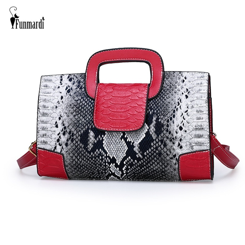 FUNMARDI Luxury Brand Women Bags Serpentine Patchwork Handbag PU Leather Crossbody Bag Envelope Shoulder New WLHB2008