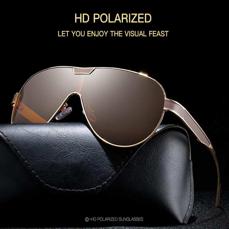 AOZE 2020 gafas de sol polarizadas de moda para hombre, gafas de sol para hombre con diseño de marca, espejo negro, lentes dorados, oculos UV400, gafas de sol para hombre