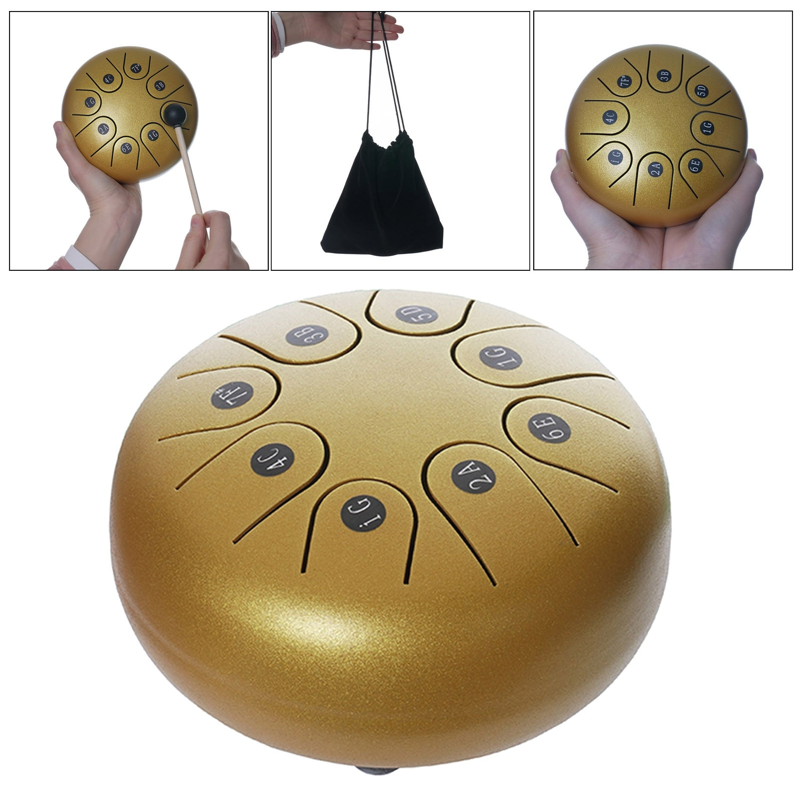 8 Tone 6 Inch Tongue Drum and Drumsticks Present for Beginner enlarge