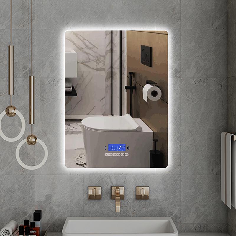 عمودي مستطيل عكس الضوء LED الذكية الجدار شنت مع تحريض الجسم ، ومكافحة الضباب ، بلوتوث ، ضوء الخلفية مرآة زينة للحمام