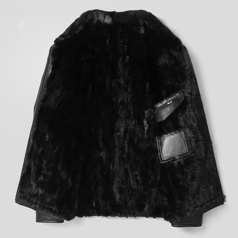 Genuine Leather Jacket Men Real Mink Fur Liner Warm Coat Winter Jacket Men Real Sheepskin Coats Plus Size L18-5800 MY1601