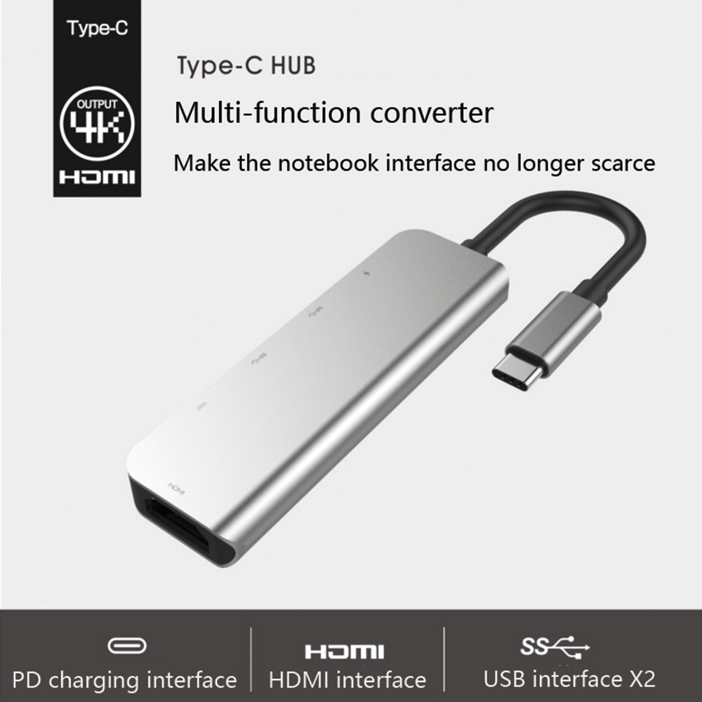 USBC to HUB HDMI USB 3.0 Type C Charing Port 5 In 1 Hub convertor 4K for Mac book Pro Thunderbolt 3 USB-C Charger