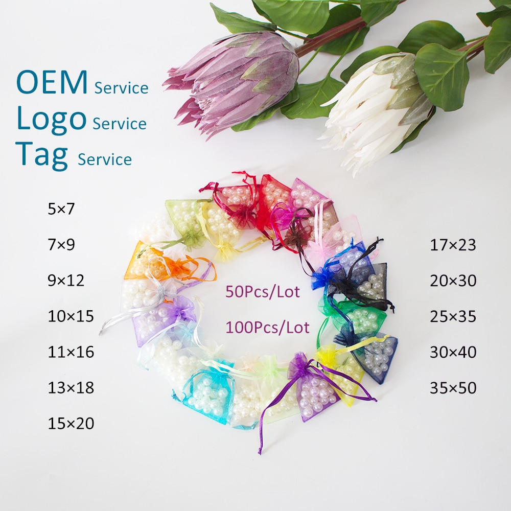 5×7 7×9 9×12 10×15 50Pcs Organza Bag For Wedding Gift  Jewelry Packing Pouch Drawstring Can Customized Logo