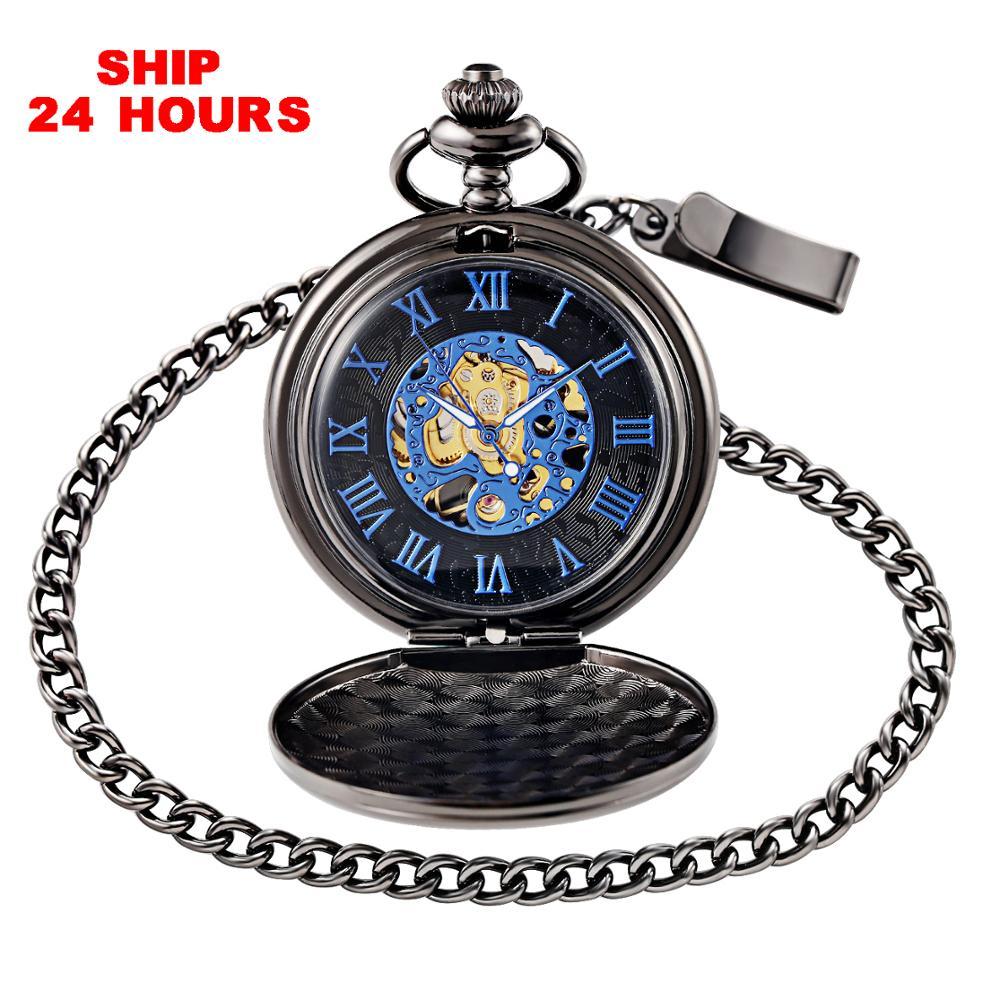 Relógio de Bolso Mecânico Preto Colar Corrente Steampunk Esqueleto Azul Fob Bolso Relógio Presente Navio 24 Horas
