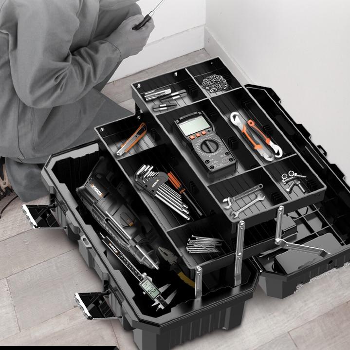 Caixa de Ferramentas Resistente ao Impacto Ferramenta com Caixa de Armazenamento Dura Preta Empilhável Divisores Ferramentas Embalagem Dk50tb Kit