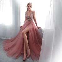wholesale charming on sale prom gowns long tulle plunge v neckline back out beading sequins evening dresses high side split