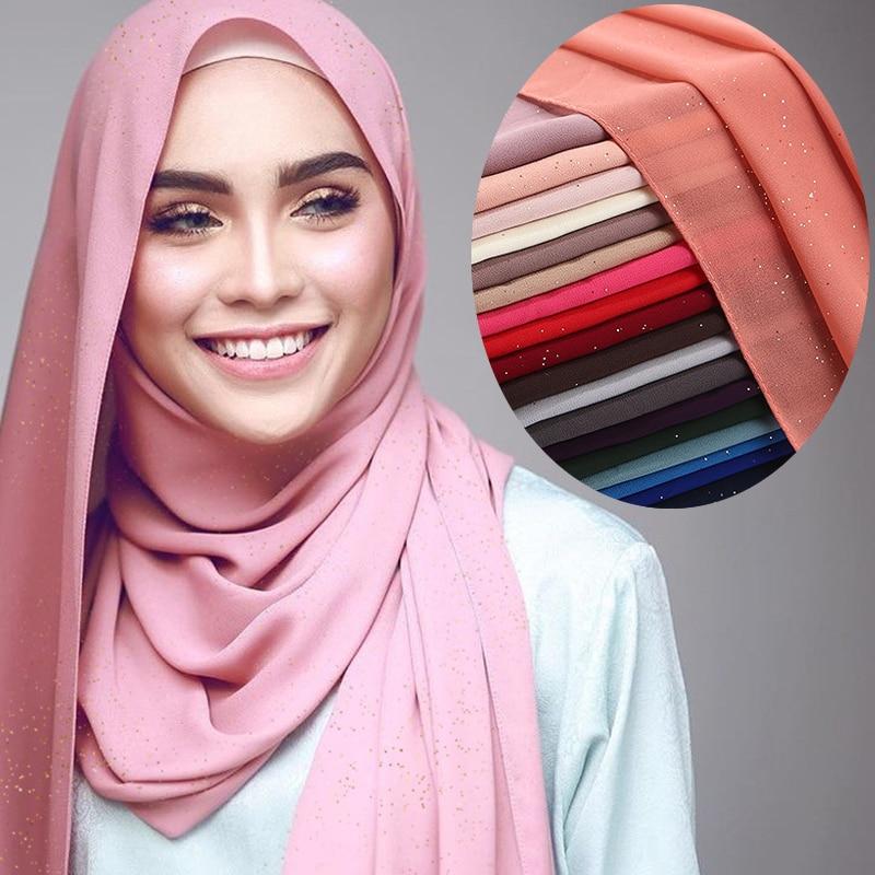 Glitters verão plain chiffon muçulmano cachecol hijab Islâmico xales e wraps hijabs turbante para as mulheres musulman hoofddoek femme