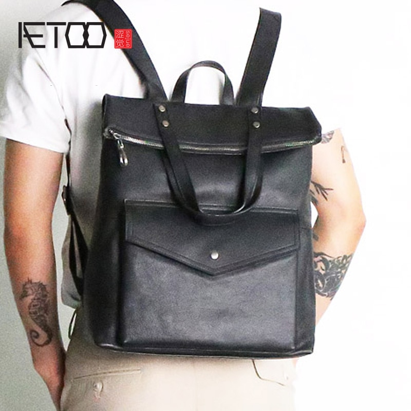 AETOO Top leather large backpack University style leisure travel European and American fashionable mens