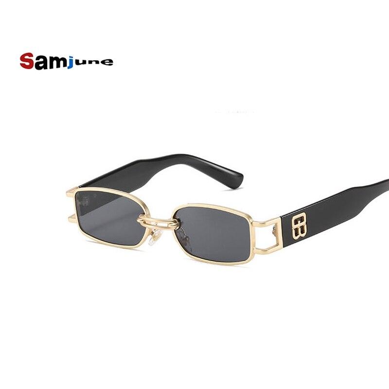 Samjune-gafas de sol rectangulares para mujer, lentes de sol de diamante Steampunk...