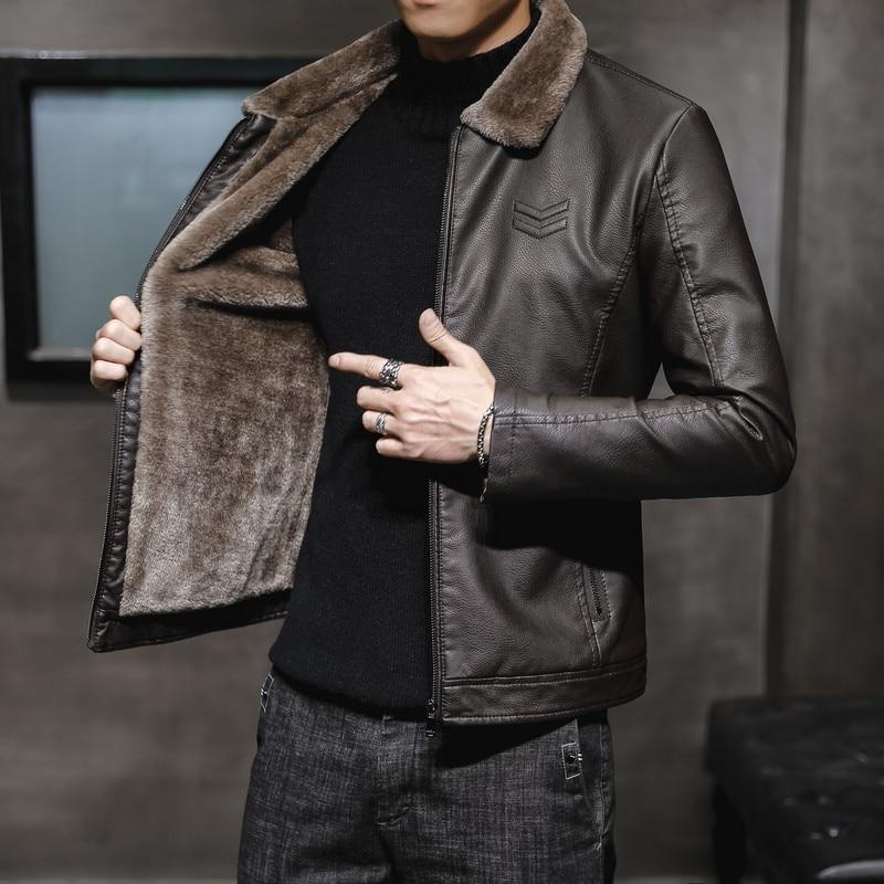 Новая Толстая кожаная куртка, Мужская зимняя Осенняя мужская куртка, модная ветрозащитная теплая куртка с воротником из искусственного мех...