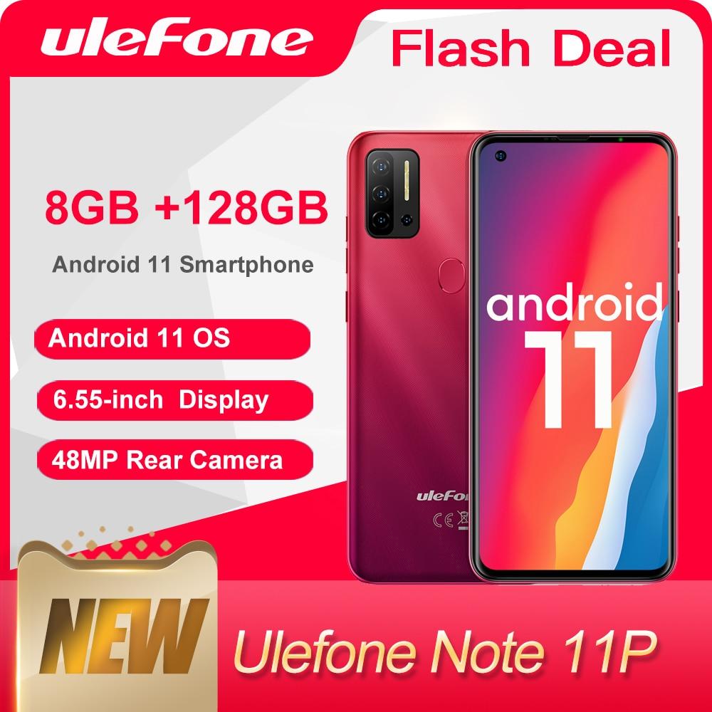 هاتف Ulefone Note 11P يعمل بنظام الأندرويد 11 (2021) هاتف ذكي 8GB + 128GB 4G-LTE هاتف مفتوح الرؤية العالمية 4400mAh كاميرا 48MP هاتف محمول