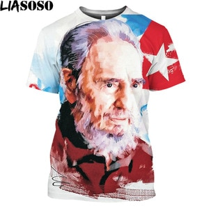 LIASOSO Cuba Fidel Castro Che Guevara Men's T-shirt 3D Print Men Women Short Sleeve O-neck novelty Casual Harajuku Shirt Tops