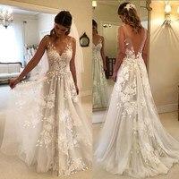 2021 New Wedding Dress Sexy V Neck Light Simple Lace   Bride  Applique Vestidos De Noiva