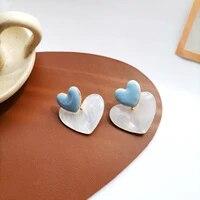 mihan s925 needle sweet jewelry heart earrings popular sweet temperament blue enamel resin drop earrings for women gifts