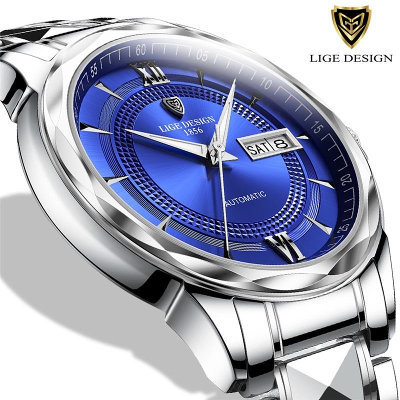LIGE-ساعة يد رجالية ، كرونوغراف توربيون ميكانيكي ، أوتوماتيكية ، ستانلس ستيل ، أعمال ، مقاومة للماء ، لون ذهبي ، فكرة هدية ، مجموعة جديدة 2021