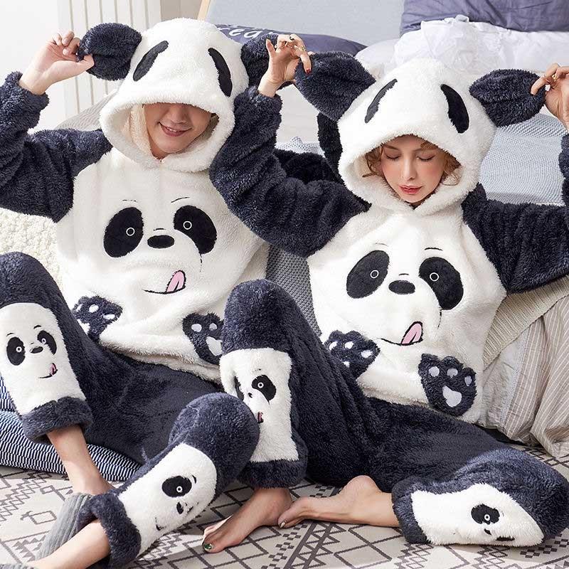 Унисекс взрослый пара пижамы мужчины зима бархат одежда для сна 2 шт теплые фланель пижамы комплект животное мультфильм милый дом одежда