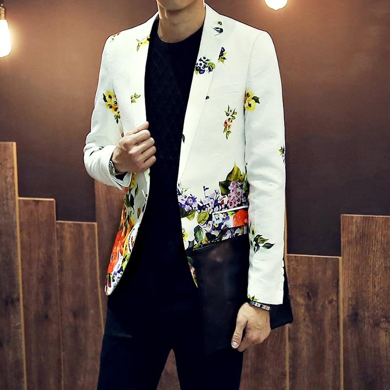 2021 NEW Tide brand men's suits blazers British printing suit jackets men's Korean style fashion slim suits