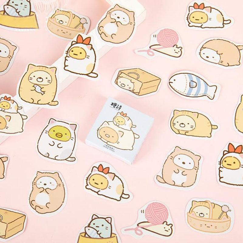 45 unids/pack de dibujos animados engomada Sumikko Gurashi decorativos etiqueta papelería etiqueta artesanal pegatinas Scrapbooking DIY álbum diario