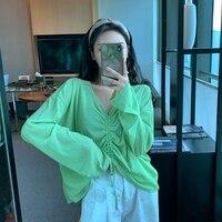 Avocado Green Drawstring Top Xuan Ya Spring/Summer Sun Protection Super Fairy Ins Trendy Long Sleeve Thin Blouse Ice Silk