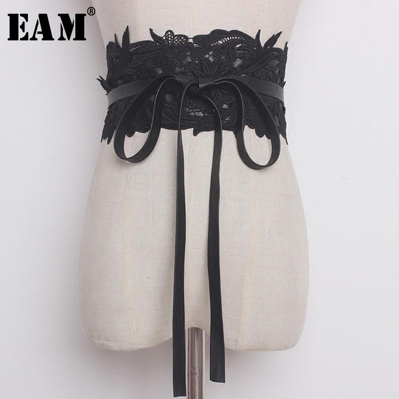 [EAM] 2020 New Summer Slolid Color Lace Split Joint Bandage PU Leather Loose Wide Belt Women Fashion Tide All-match JG363