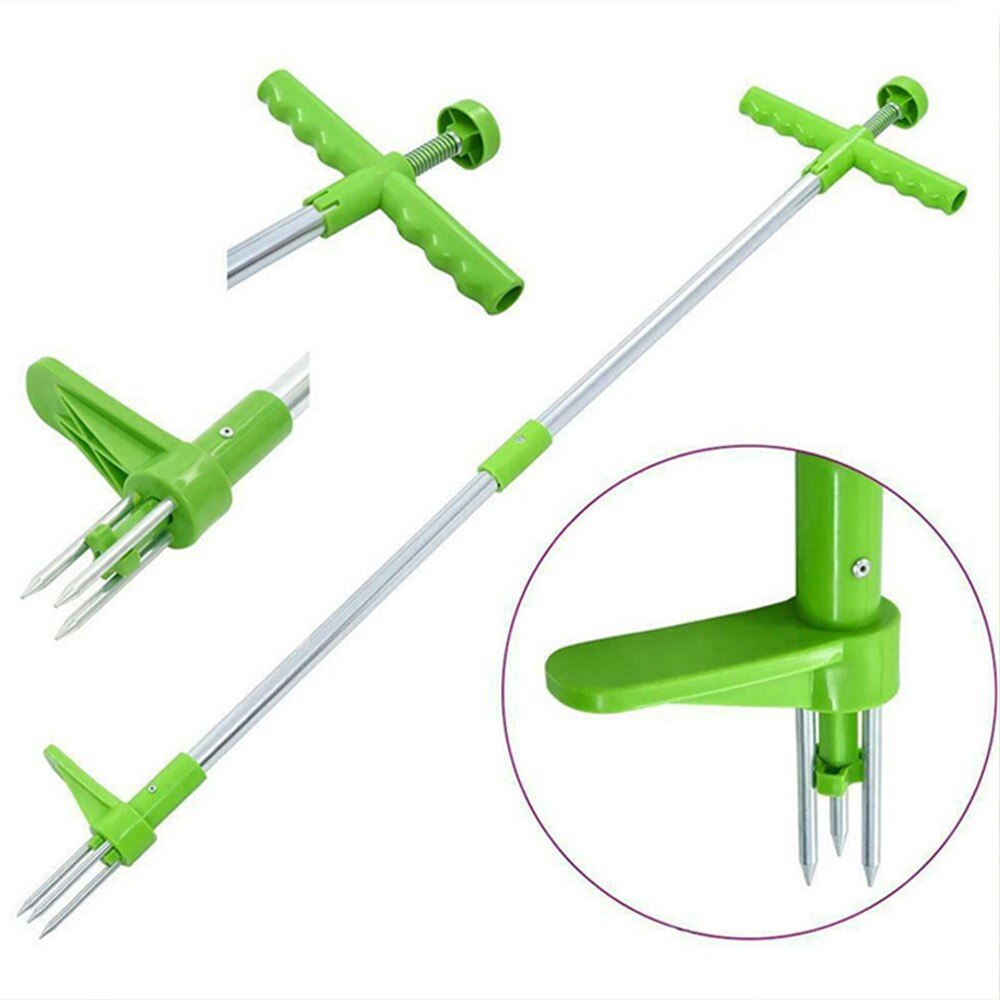 Claw Weeder Root Remover Outdoor Killer Tool Portable Garden Lawn Long Handled Aluminum Weed Puller Removable With Foot Pedal
