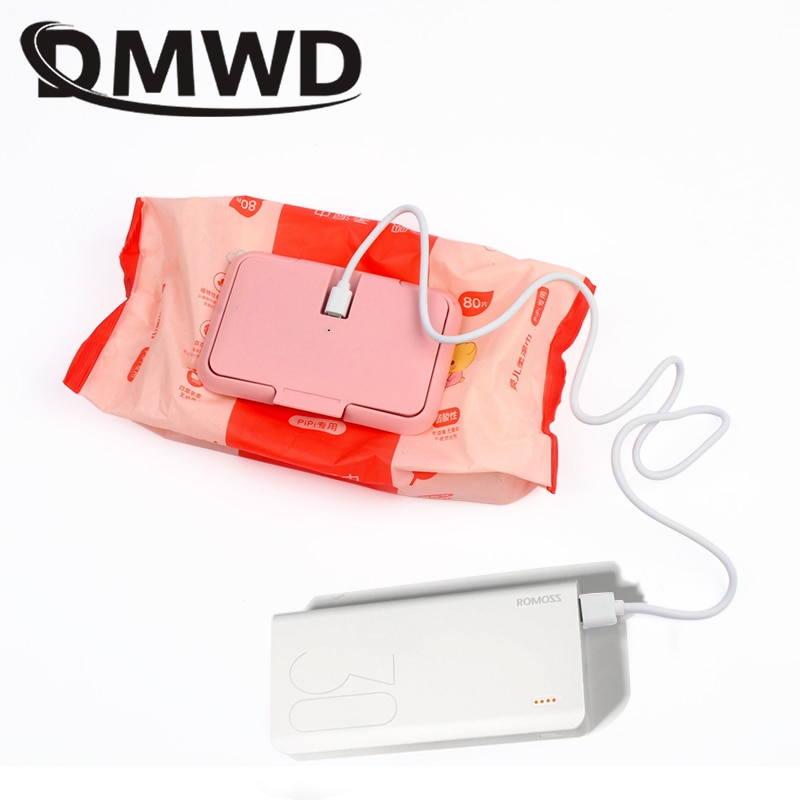 DMWD USB Portable Baby Wipes Heater Thermal Warm Wet Towel Dispenser Napkin Heating Box Cover Home/C