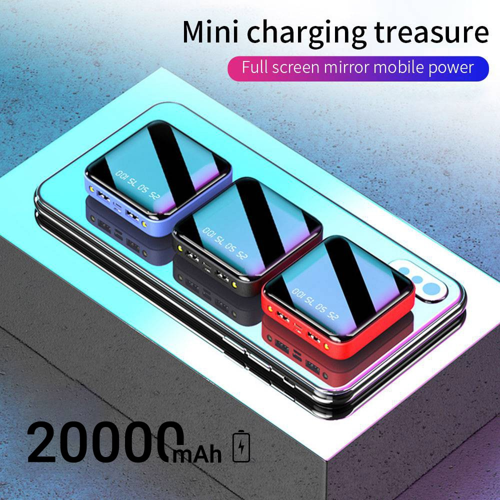 20000mAh Power Bank Portable Charging Poverbank Mobile Phone LED Mirror Back Power Bank External Battery Pack Powerbank