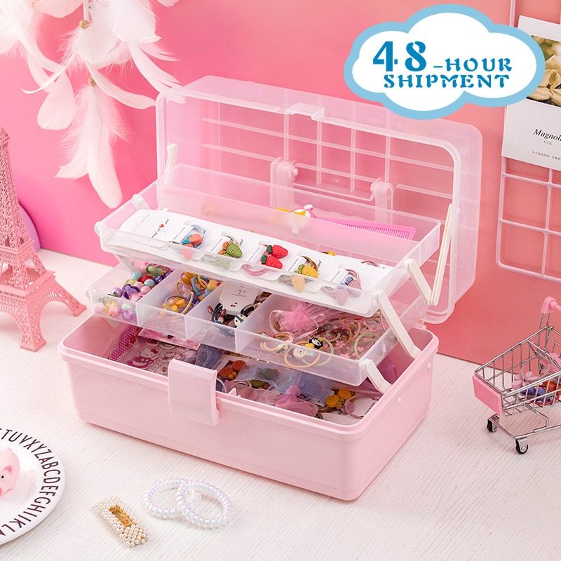 W&G Pink Transparent Plastic Multilayer Children Hair Accessories Box Desktop Cosmetics Jewelry Manicure Three-layer Storage Box