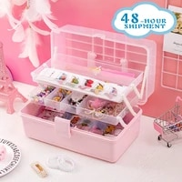 wg pink transparent plastic multilayer children hair accessories box desktop cosmetics jewelry manicure three layer storage box