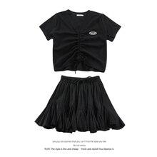 V-neck Drawstring Design Short-Sleeved T-shirt for Women 2021 Summer New Solid Color Skirt Pettiskir