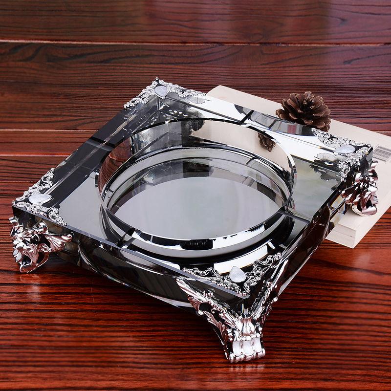 Household high-end ashtray crystal glass ashtray large ashtray European style living room decoration ashtray fashion ashtray enlarge