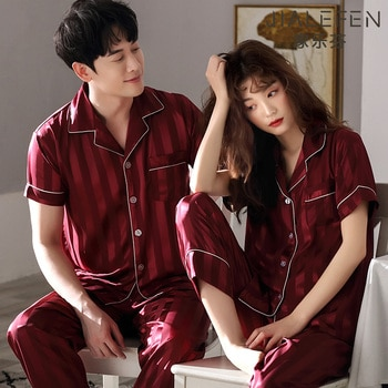 Couple Pajamas Baby Boy and Girl Summer Short Sleeve Ice Silk Thin Wedding New Year Bright Red Festive Silk Suit