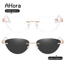 Ahora Women Bifocal Crystal Sun Reading Glasses Anti Blue Light Cat Eyes Sunglasses Presbyopia Eyegl