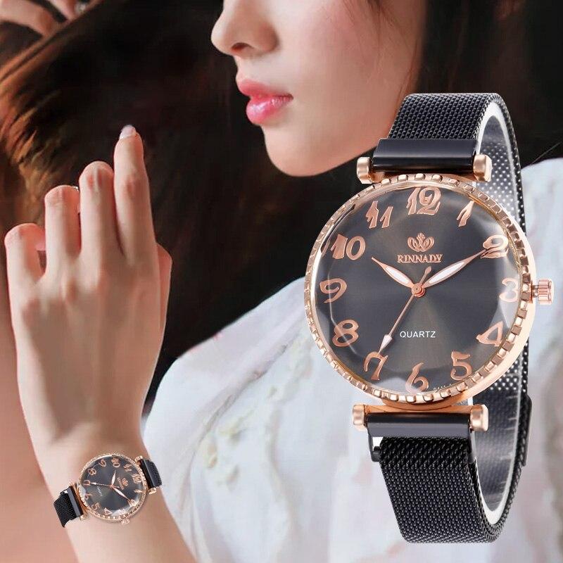 Reloj de WJ-8558 dígitos reloj magnético para mujer pulsera de moda reloj de pulsera clásico para mujer reloj de pulsera de cuarzo de lujo para mujer