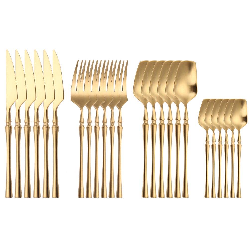 طقم أدوات مائدة من الفولاذ المقاوم للصدأ ، 24 قطعة ذهبية غير لامعة ، طقم أدوات مائدة ، شوكة ، ملعقة ، سكين ، أدوات مائدة فاخرة
