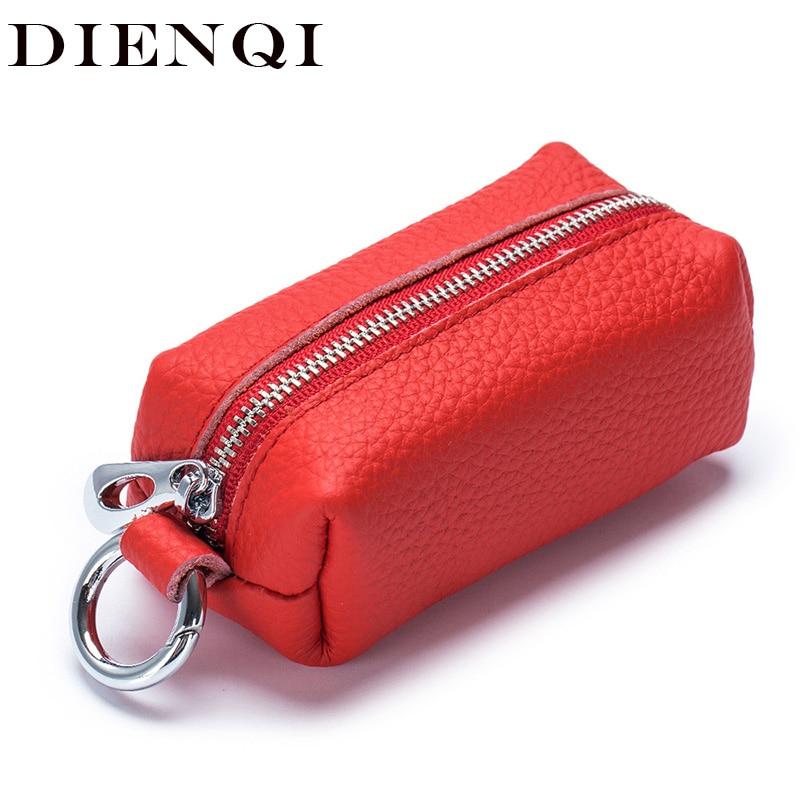 Women Genuine Cow Leather Key Chain Car Wallets Fashion Housekeeper Holders Box Men Keychain Zipper