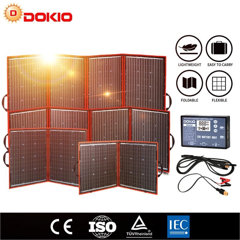 AliExpress - Dokio Flexible Foldable Solar Panel High Efficience Travel & Phone & Boat Portable 12V 80w 100w 150w 200w 300w Solar Panel Kit