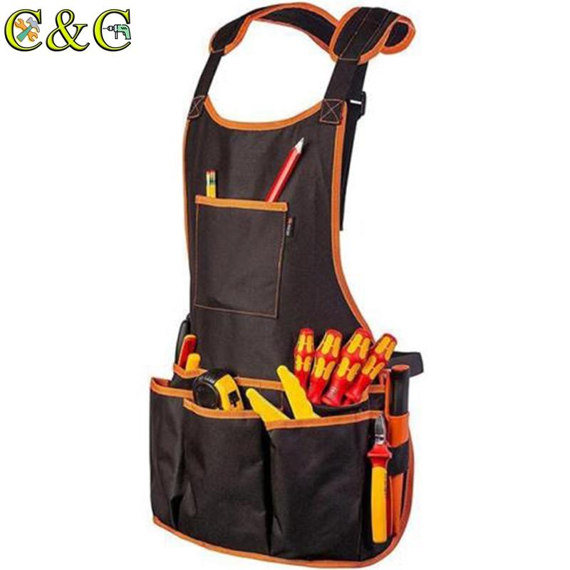 Жилет для инструментов, фартук, электрик, плотник, рабочая одежда, хозяйственная сумка, карманные регулируемые фартуки для инструментов с 16 ...