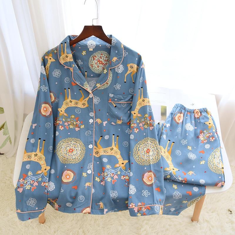 Pijama de algodón de cervatillo para primavera, Chaqueta de punto con solapa,...