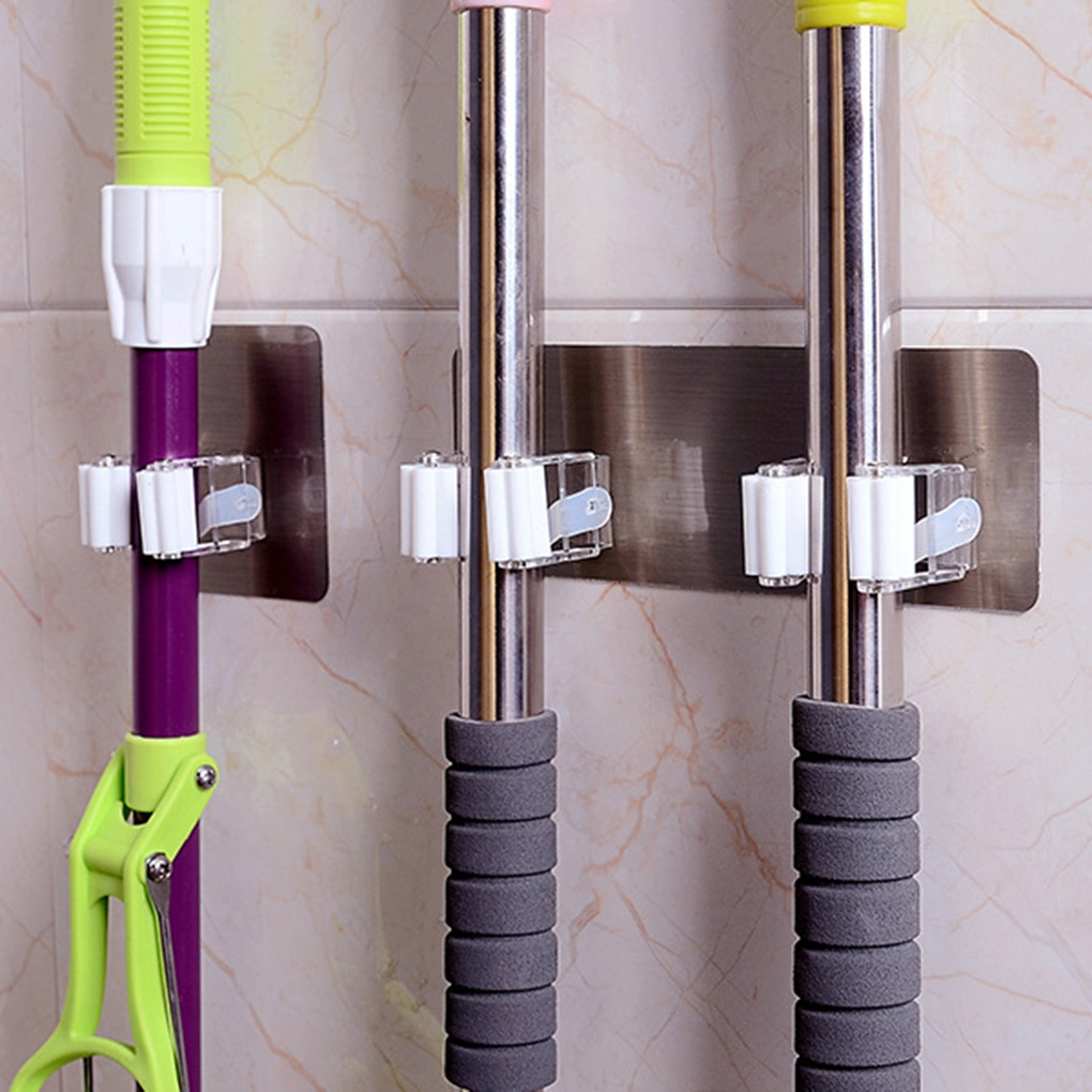 Montado en la pared de soporte para mopa cepillo gancho para escoba Rack de almacenamiento organizador de baño colgando de ganchos para tubería fuerza clip para mopa