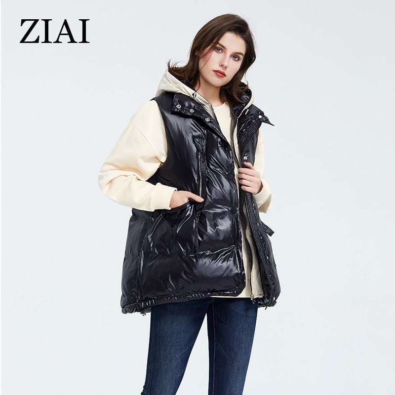 ZIAI 2020 mujeres chaleco chaqueta de primavera corta negro oscuro parkas cálido con capucha de talla grande chaleco femenino con capucha casual de Marca en Stock ZR-7219