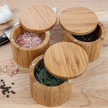 Pot rond en bambou pour sel et épices   Boîte à sel avec serrure magnétique, boîte de rangement en bambou avec couvercle pivotant magnétique