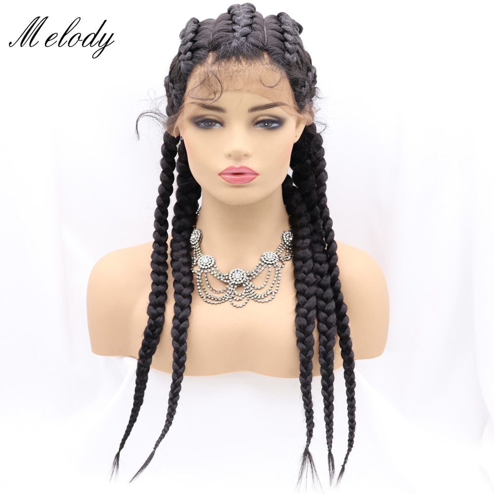 30 Inch synthetic Lace Front Wig Blonde Long Black Braided Wigs For Women Cosplay Glueless Brown 5 Braids Highlight Big Braiding