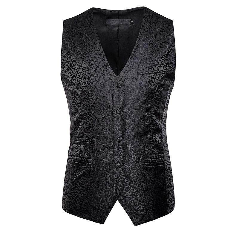 Hommes noir classique col en V simple boutonnage costume gilet 2020 mode florale Jacquard gilet hommes daffaires robe formelle gilets mâle