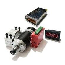 500 Вт высокоскоростной бесщеточный Электрический шпиндель комплект Электрический шпиндель + привод + крепление двигателя + 48 в импульсный и...