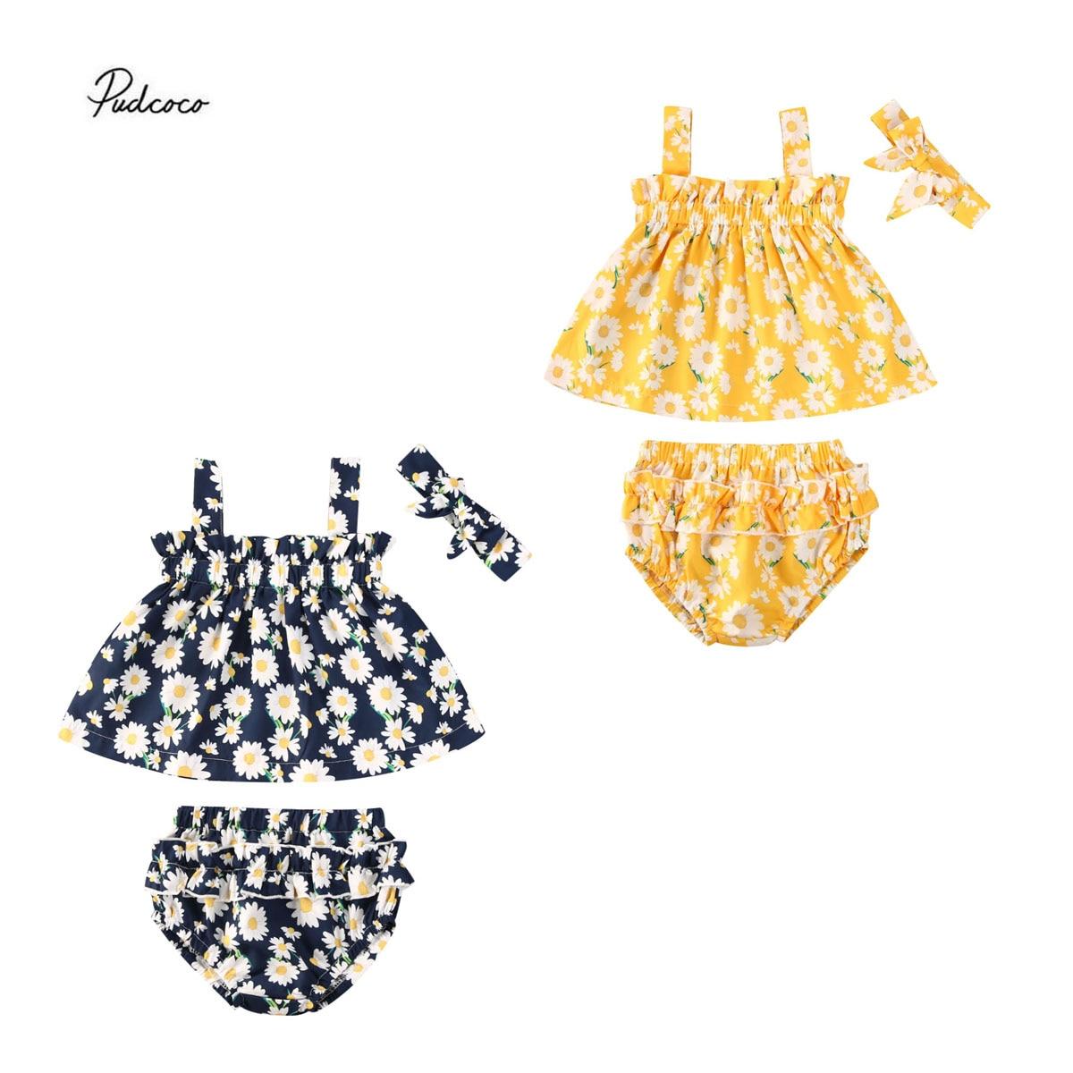 2020 Summer 0-18M Newborn Baby Girl Clothes Daisies Pirnt 2 Colors Sleeveless Top Vest+Ruffle Short Pants Set Floral Summer 2pcs