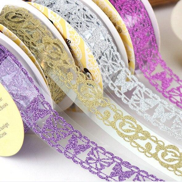 2 pièces noël Washi ruban décoratif ruban de masquage paillettes or dentelle Washi bande Scrapbooking autocollants bricolage téléphone journal portable