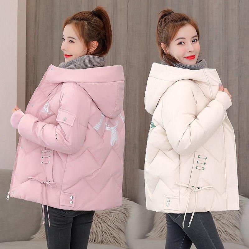 2020 las nuevas mujeres tapado de invierno estilo Parka con capucha gruesa cálida chaqueta de algodón suelto Parka chaqueta acolchada de algodón prendas de vestir de talla grande 1022