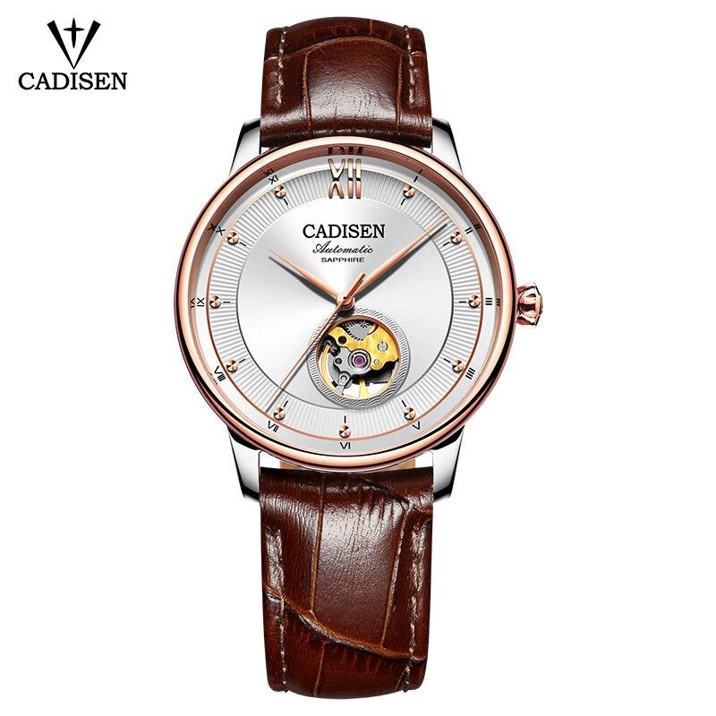 CADISEN الرجال ساعة الهيكل العظمي التلقائي آلات اليابان 90S5 الجلود الفاخرة العلامة التجارية الأزواج رقيقة جدا الأعمال مقاوم للماء ساعة اليد